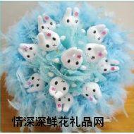 小熊花束,卡通花束/公仔花束 蓝色米菲兔花束