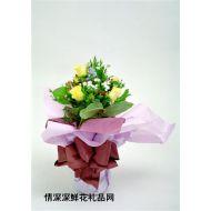 礼盒花束,个性黄玫瑰花束6