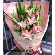 生日鲜花,温暖粉百合